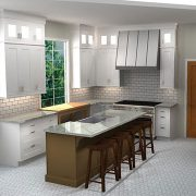 3d rendering of cliqstudios kitchen design with white shaker cabinets and tea leaf kitchen island with seating
