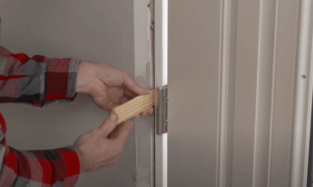 Attach Shims Between the Hinge and the Door Jamb